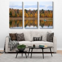 Осень на озере мультиканва