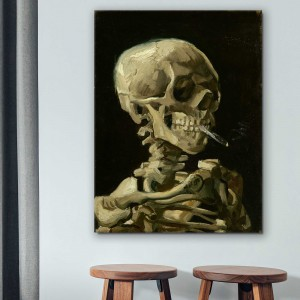 Vinsents van Gogs -  Skeleta galva ar degošu cigareti